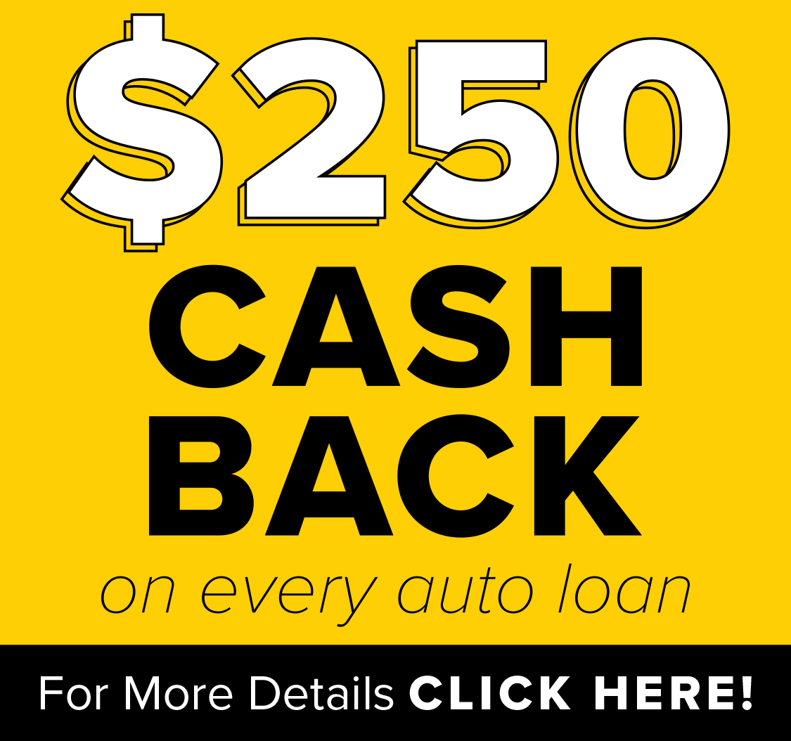 "image with the text ""$250 cash back on every auto loan. For more information click here!"""