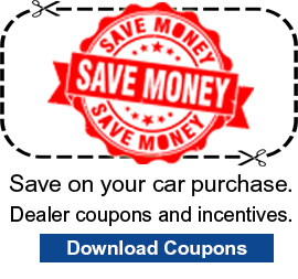 "image of a coupon with the text, ""Save on your car purchase with dealer coupons and incentives. Download coupons."