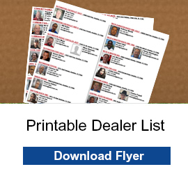 "image of a dealer list with the text ""printable dealer list, download flyer."""